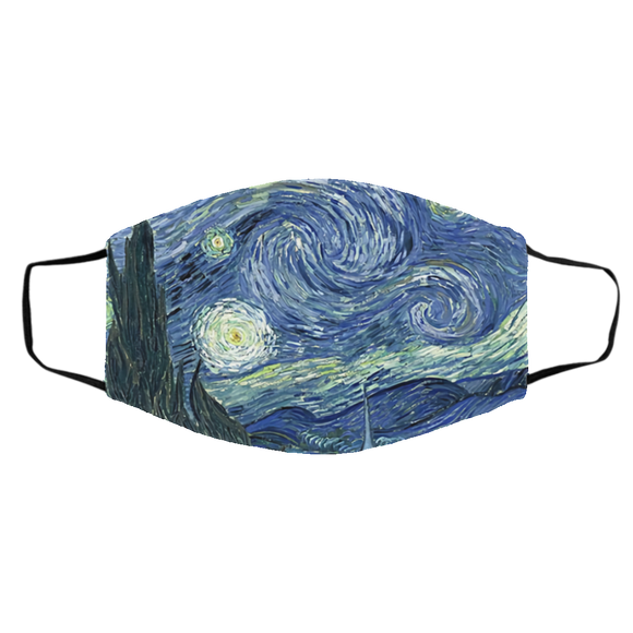 Starry Night Handmade Face Mask, Unisex 3 Layer Face Mask,Adult Face Mask,Washable & Reusable Face Mask,FAST Shipping, Made in USA