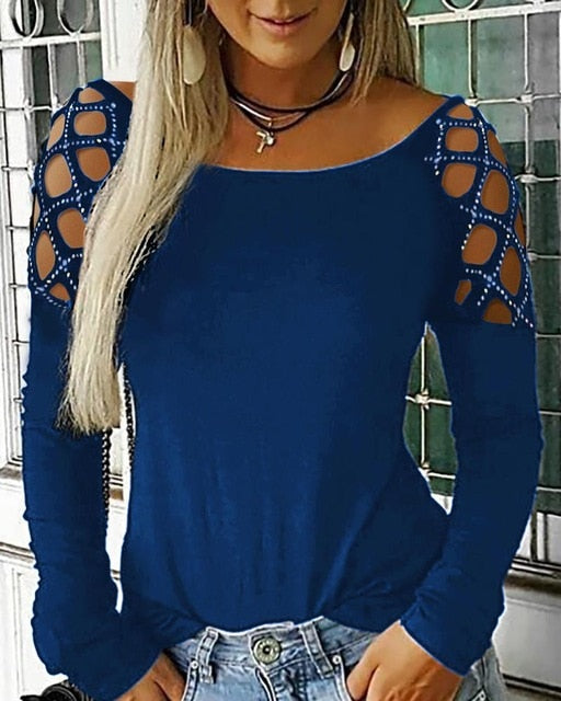 Women's Rhinestone Studded Long Sleeves Cotton Top