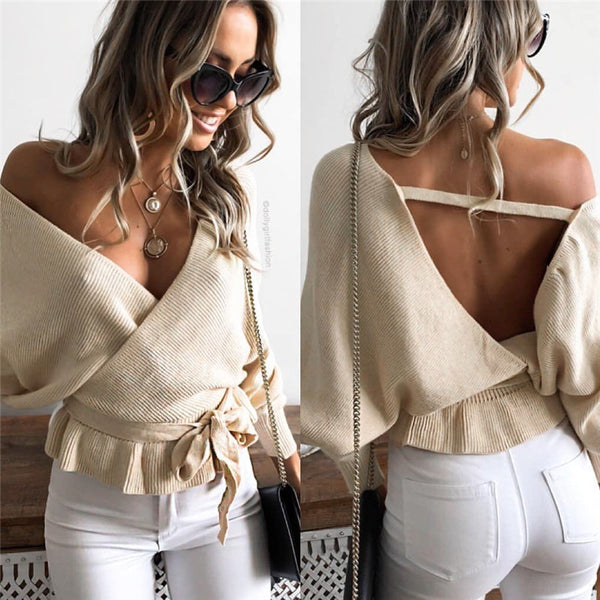 Women's Backless Long Sleeve V-Neck Solid Sweater
