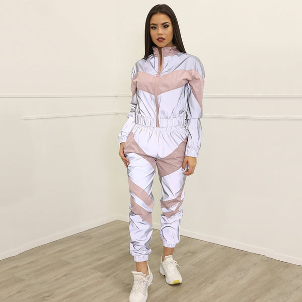 Women's Reflective 2 Piece Tracksuit Set (2 Piece Matching Set)