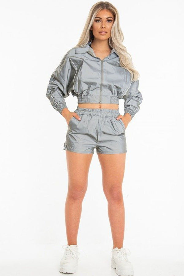 Women's Reflective Light Short and Jacket Tracksuit  (2 Piece Matching Set)