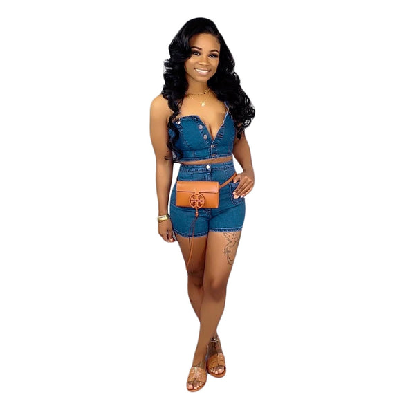 Women's Button-Up High Short Denim Set (2 Piece Matching Set)