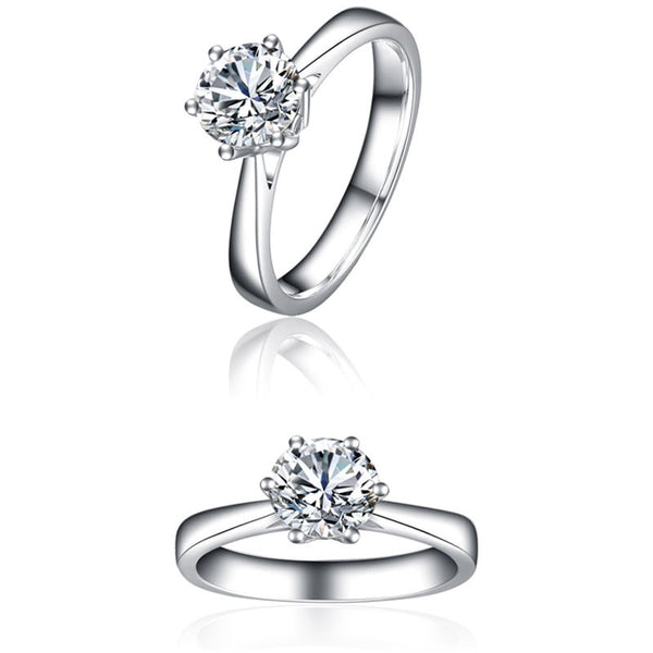 Women's 18K Solid White Gold Diamond Engagement Ring