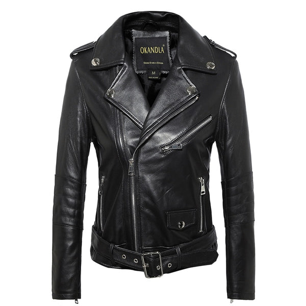 Women's Genuine Leather Motorbike Sheepskin Jacket