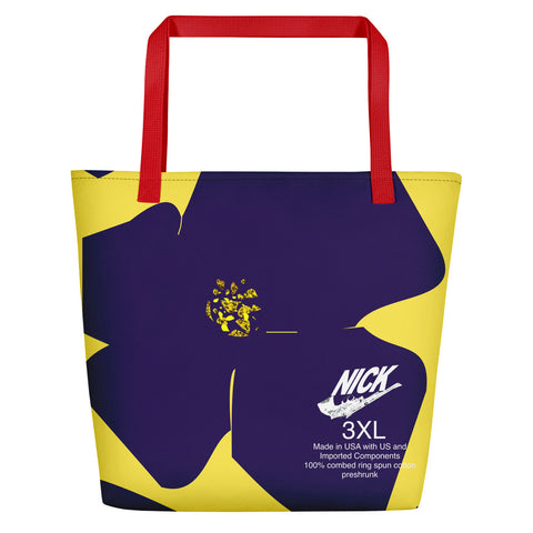 Nicknickers' Blue Flower Yellow Sun Beach Bag