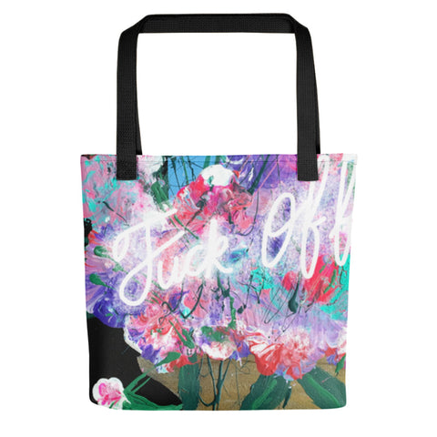 Fuck Off Gold Flower Pot Nicknickers Tote bag.