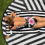 Black and White and Pink All Over Nicknickers One-Piece Swimsuit