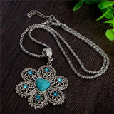 Antique Turquoise Stone Flower Necklace - Swag Factory