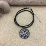 Antique Silver Om Lotus Mandala Pendant Necklace - Swag Factory