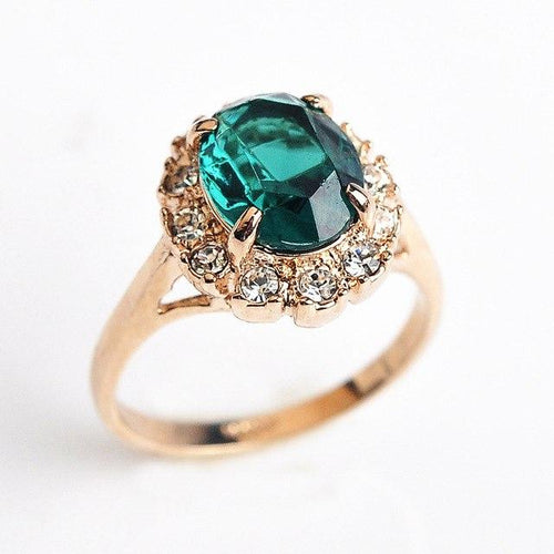 Emerald Rose Gold Zircon Ring - Swag Factory