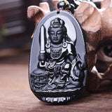 Black Obsidian Carved Buddha Necklace - Swag Factory