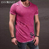 Men's Ripped Slim Fit T-Shirt - Swag Factory