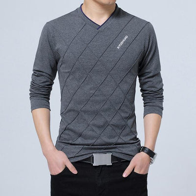 Check Pattern V-Neck T-shirt - Swag Factory