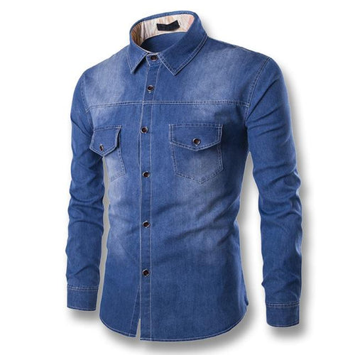 Mens Denim Casual Fashion Slim Fit Shirt - Swag Factory
