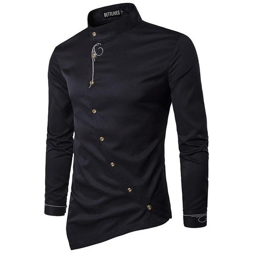 Brand Designer Men Shirts Buckle Irregular High-end Male Social Dress Shirt Casual Long Sleeve Chemise Homme Camisas B3680 - Swag Factory