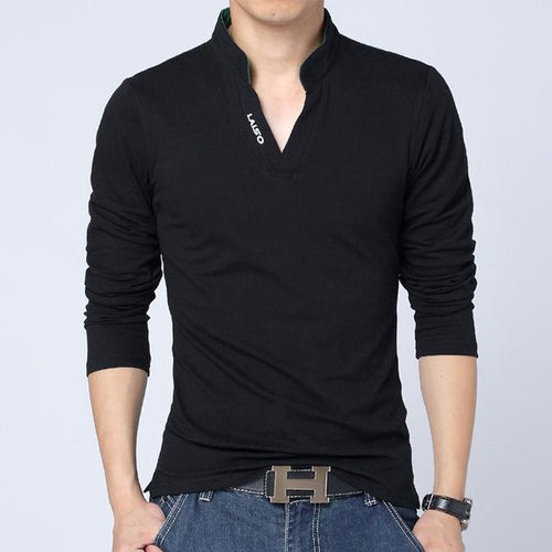 2018 New Fashion Mens Solid Color Long Sleeve Shirt - Swag Factory