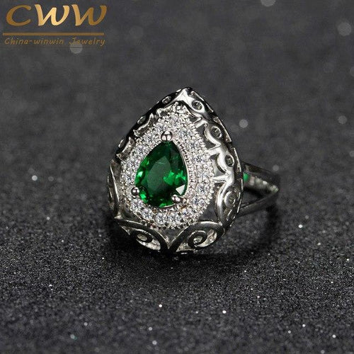 Water Drop Emerald Ring