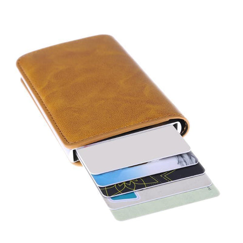 Metal Wallet Card Holder (with Leather Cover) - Swag Factory