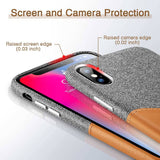 iPhone XR Fabric Leather Card Holder Case - Swag Factory