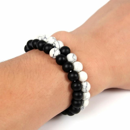White Black Yin Yang Beaded Bracelets Set - Swag Factory