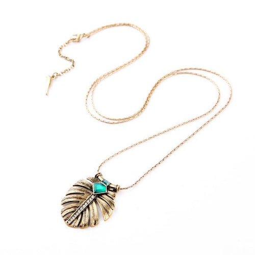 Leaf Inlay Emerald Long Pendant Necklace - Swag Factory