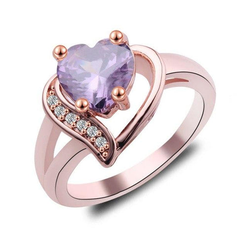 Bohemian Purple Fire Opal Heart Ring - Swag Factory