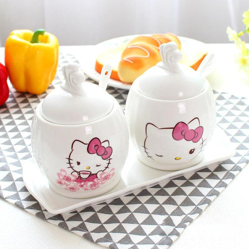 Hello Kitty Ceramic Condiment Pot Jars Set (With Spoons) - Swag Factory
