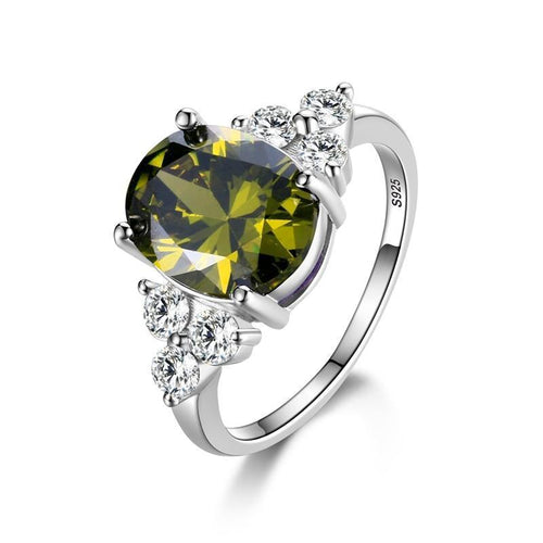Oval Olive Green Emerald Zircon Ring - Swag Factory