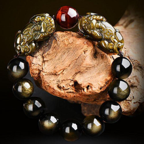 Natural Gold Obsidian Double Pi Yao Wealth Bracelet - Swag Factory