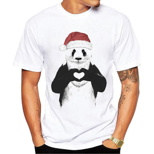 Christmas Panda Funny Mens T-Shirt - Swag Factory