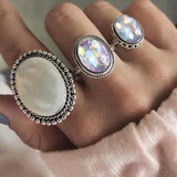 Bohemia Oval Colourful Opal Stone Ring Set - Swag Factory