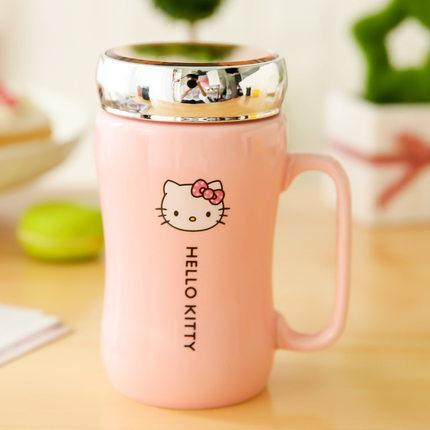 Hello Kitty Ceramic Mug With Lid & Spoon (14.5 Oz) - Swag Factory