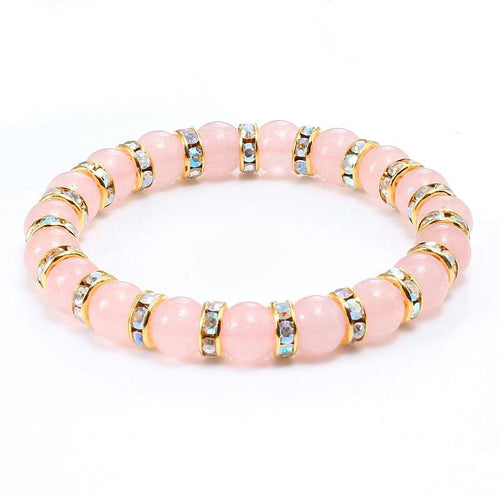 Jewelry Pink Crystal Beads Reiki Bracelet - Swag Factory