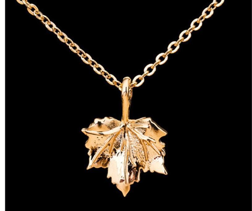 18K Gold Autumn Maple Leaf Necklace