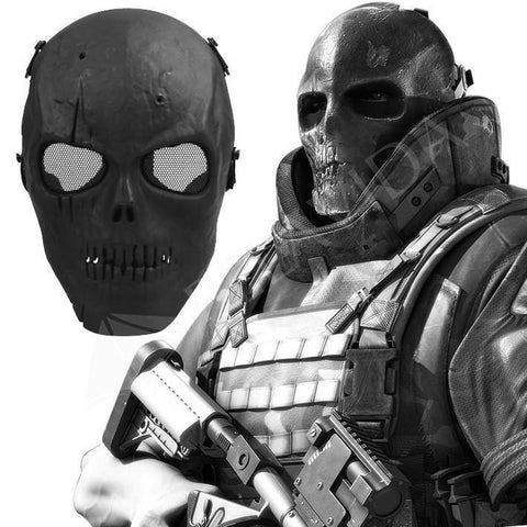 Skull Airsoft Paintball Full Face Protect Mask Mesh Goggle