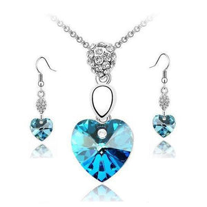 Austrian Blue Crystals Heart Drop Jewelry Set