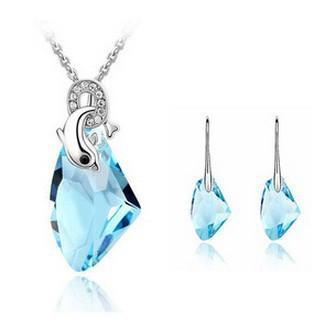 Austrian Crystal Dolphin Jewelry Set