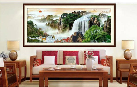 Mountains & Waterfall Scenic Cross-Stitch Kit