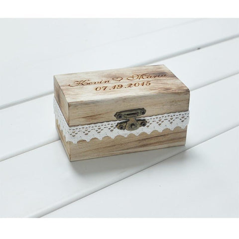Personalized Rustic Wedding Ring Bearer Box