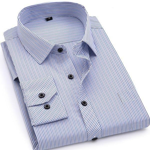 Classic Striped Business Casual Long Sleeved Shirt - Swag Factory