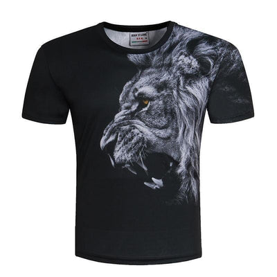 3D Lion Print T-Shirt - Swag Factory