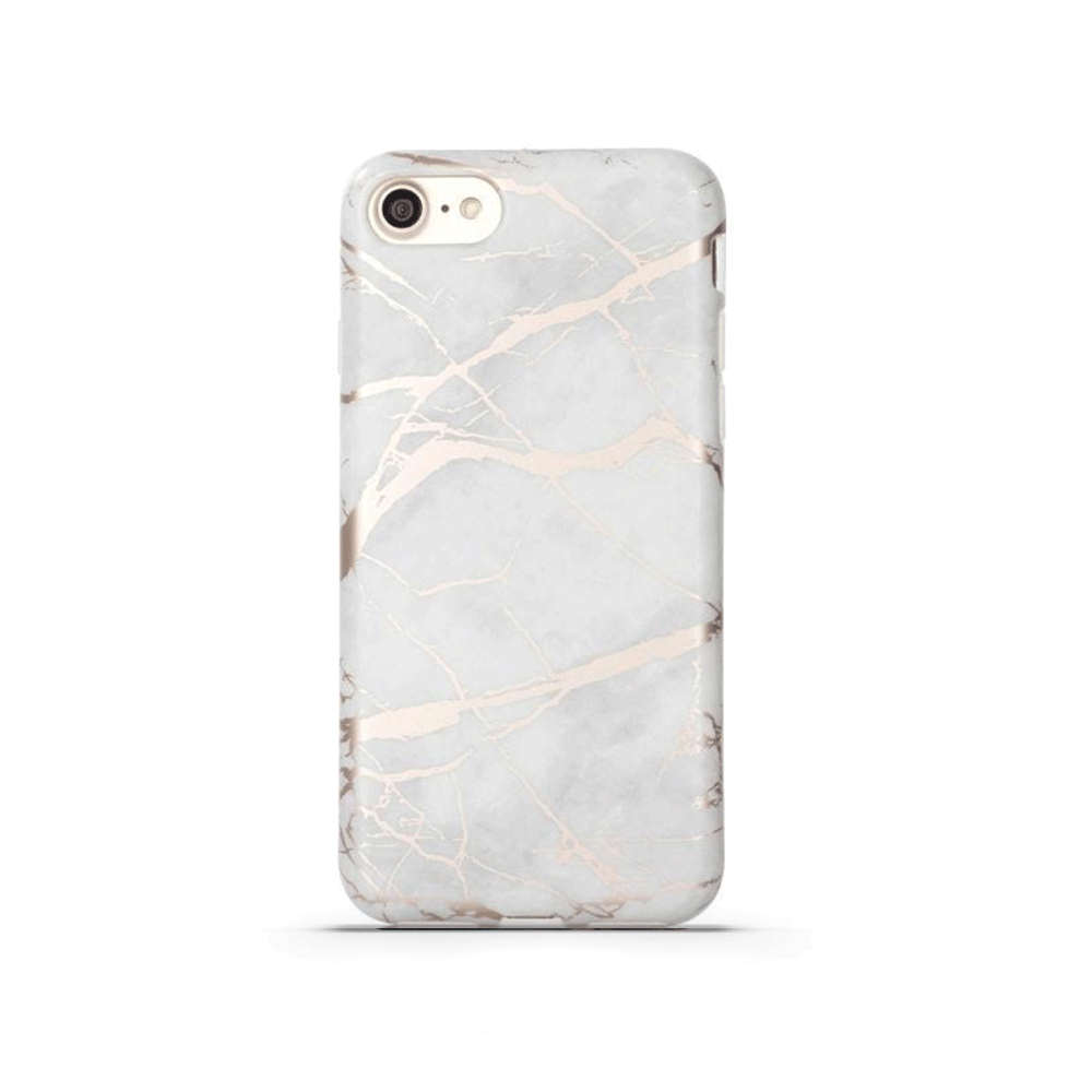 uk availability 4310f 837d6 iPhone Case - White & Rose Gold Metallic Marble