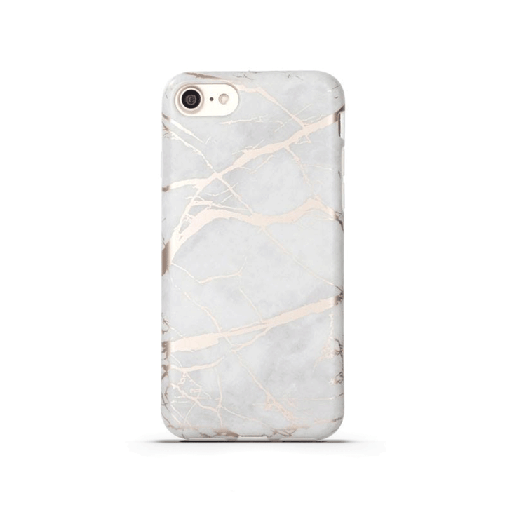 iPhone Case - White & Rose Gold Metallic Marble - colourbanana