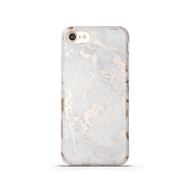iPhone Case - White & Rose Metallic Brushed Marble - colourbanana