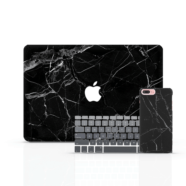 MacBook Case Set - Full Black Marble - colourbanana