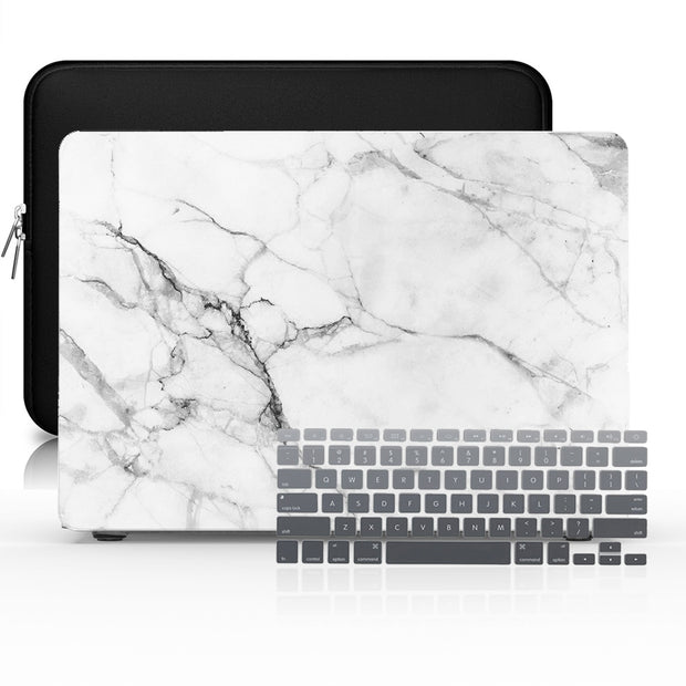 Macbook Case Set - Protective White Marble