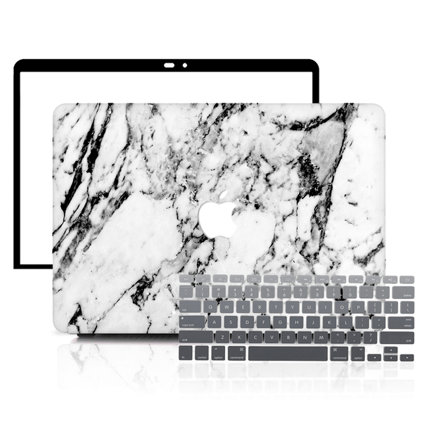 MacBook Case Set - 360 Elegant Black and White Marble