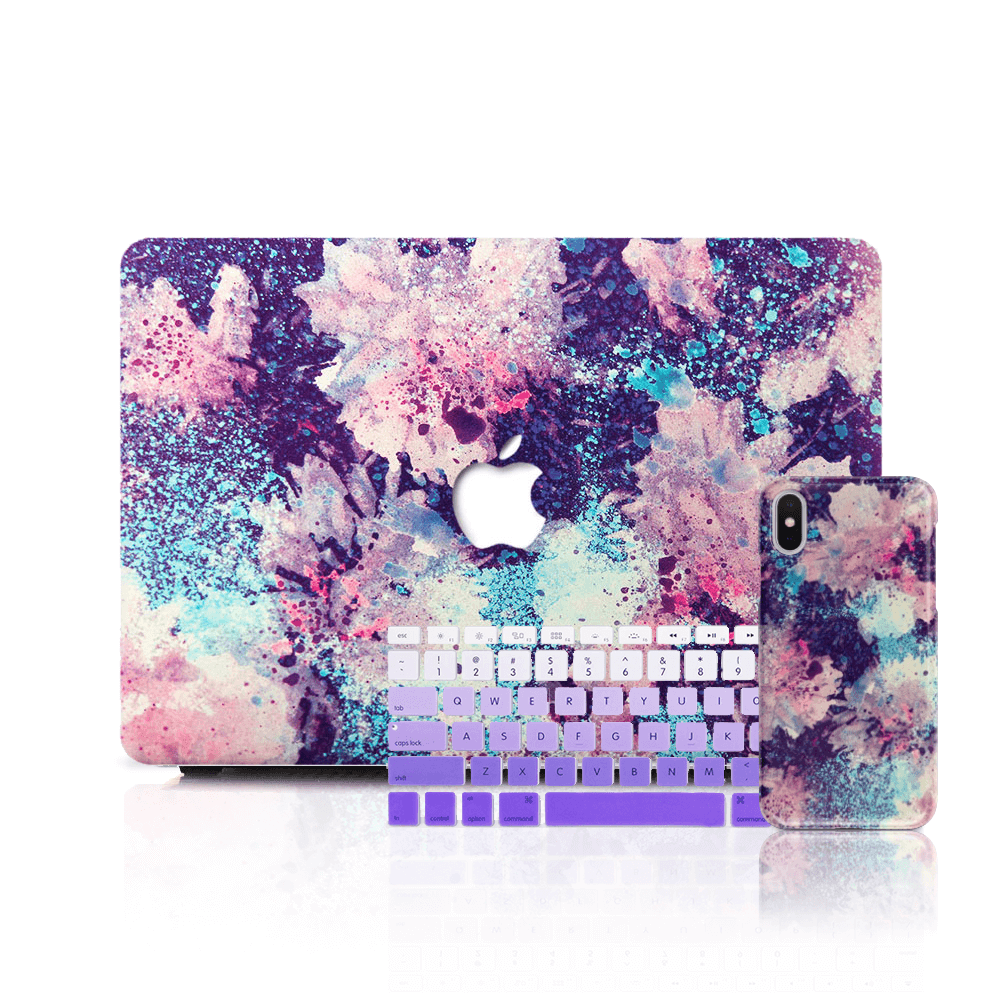 MacBook Case Set - Abstract Watercolor Flowers