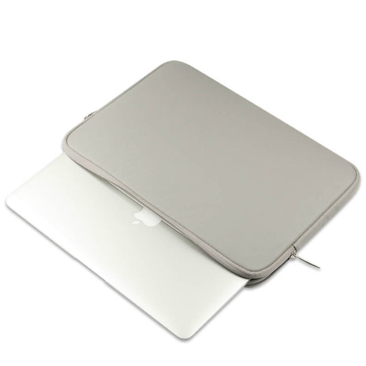 Laptop Sleeve - Grey Soft Leather Waterproof Zipper Bag