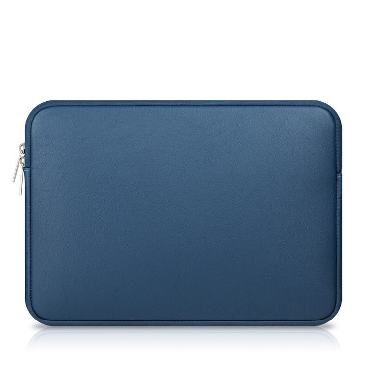 Laptop Sleeve - Blue Soft Leather Waterproof Zipper Bag